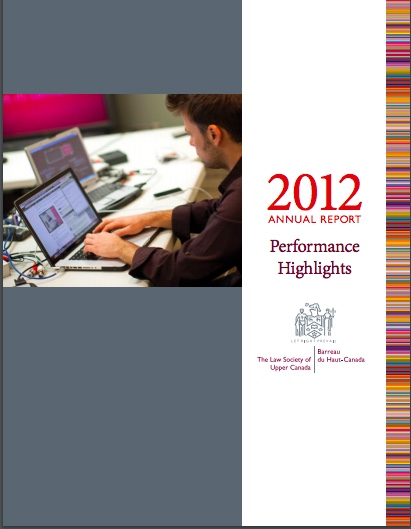 Picture of front cover of 2012 Law Society Annual Report - Copy Editor