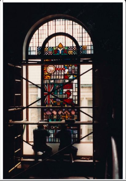 "Picture of a large stained-glass window being created at Osgoode Hall. Gazette article title is ""Christopher Wallis: Law in light and glass"" (Writer; 2013)"