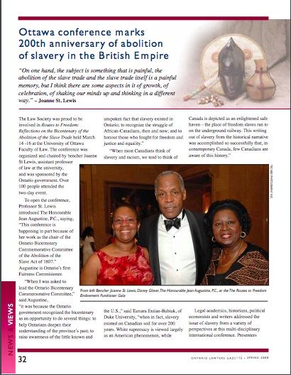 "Picture of article from the Ontario Lawyers' Gazette magazine. The article title is ""Ottawa conference marks 200th anniversary of abolition of slavery in the British Empire"". (Writer, Copy Editor of magazine)"