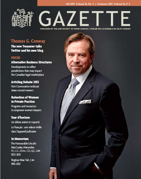 Cover of Law Society Gazette magazine, Fall 2012 issue; Then-Treasurer Thomas Conway on cover