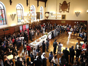 Overhead shot of reception party for new paralegals in Osgoode Hall