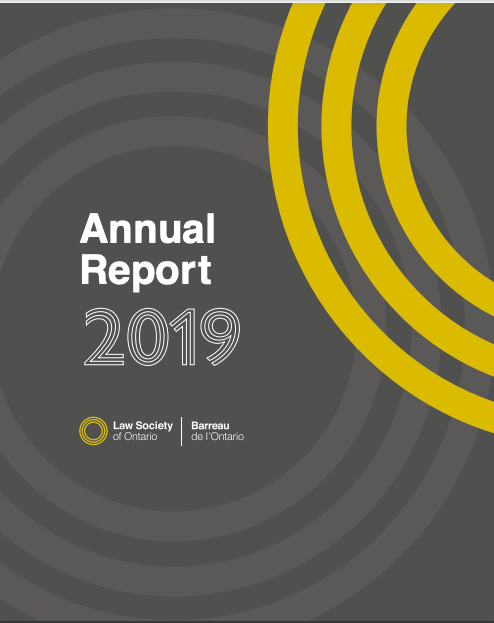 "Front cover with the title ""Annual Report 2019"" and the logo of the Law Society of Ontario"