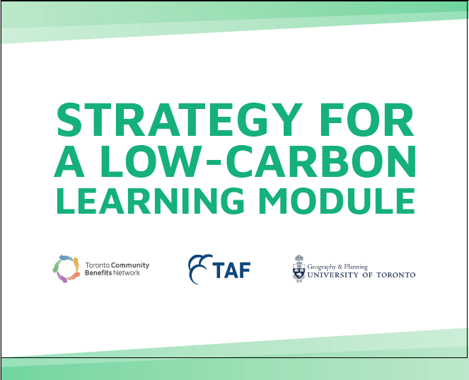 Report cover that says Strategy for a low-carbon learning module